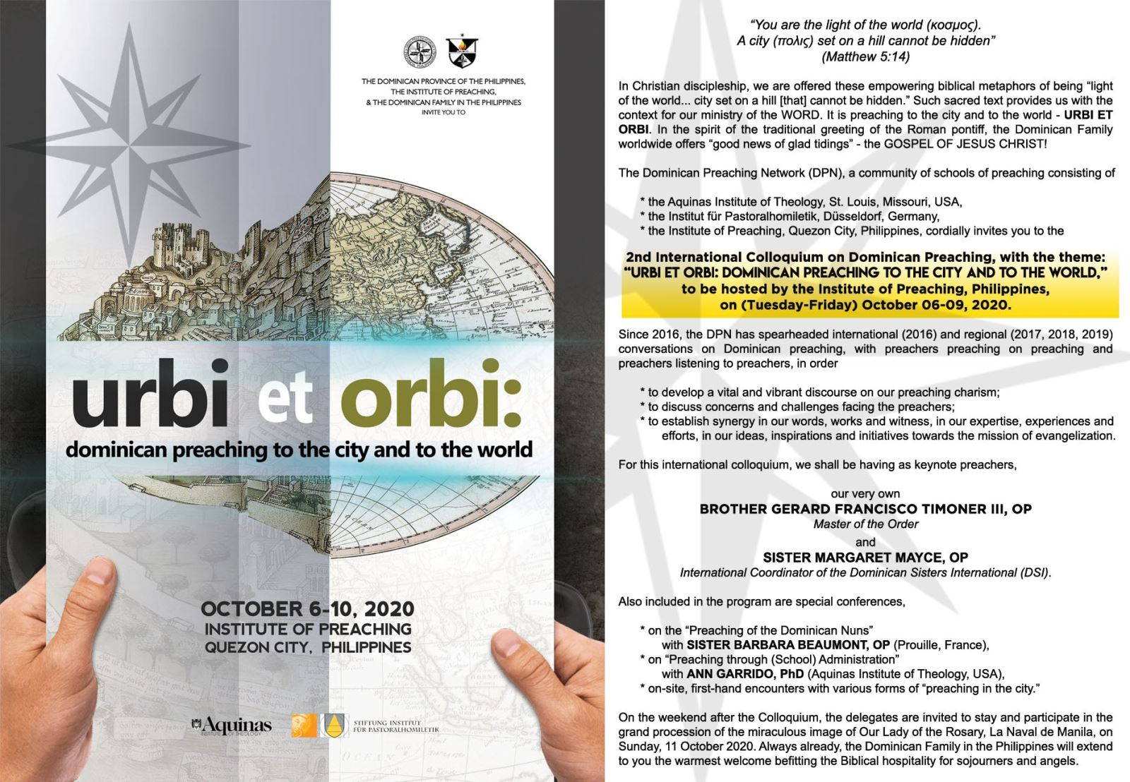 Thư mời tham dự Hội Nghị Đa Minh Quốc Tế về Giảng Thuyết 2020: URBI ET ORBI -Dominican Preaching to the City and to the World- tại Philippines