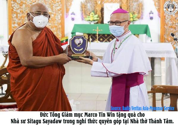 Nhà sư Phật Giáo hàng đầu của Myanmar quyên góp cho quỹ khẩn cấp virus corona của Đức Giáo Hoàng Phanxicô