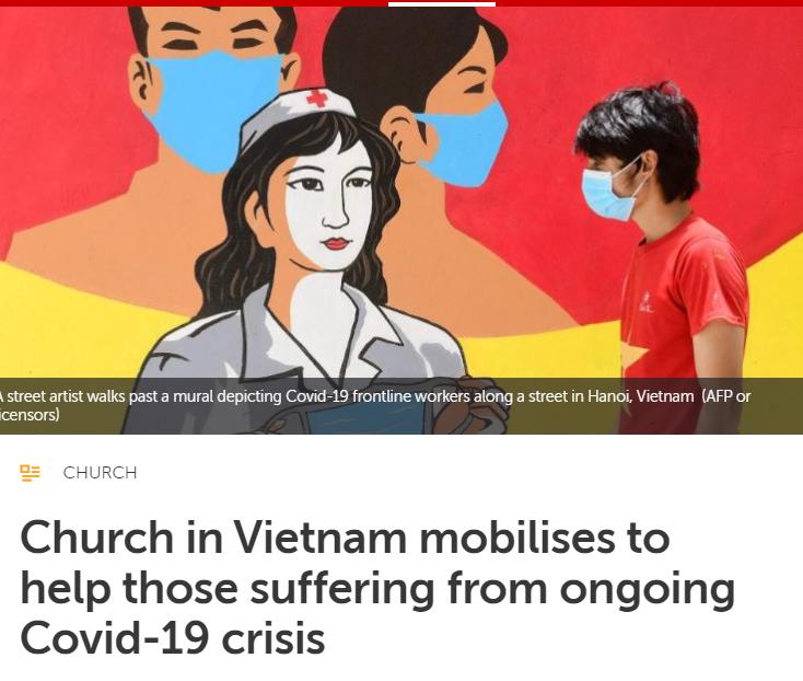 Vatican News đăng bài nói về sự giúp đỡ của Giáo Hội Việt Nam với những người đau khổ khi đại dịch Covid-19 đang diễn ra