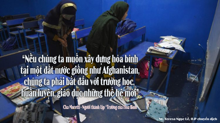 """"""" Trường học Hòa Bình"""", nơi mà trẻ em Afghan học về hòa bình và cách đón nhận lẫn nhau."""