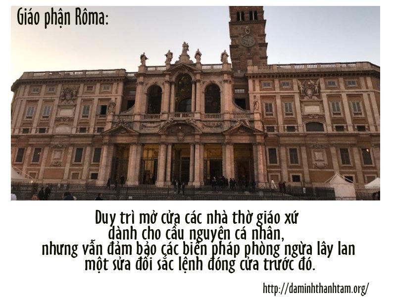 Các nhà thờ giáo xứ tại Rôma vẫn mở cửa cho cầu nguyện cá nhân.