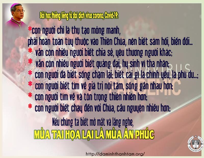 Bài học thiêng liêng từ đại dịch virus corona, Covid-19 của Đức TGM Giuse Nguyễn Năng
