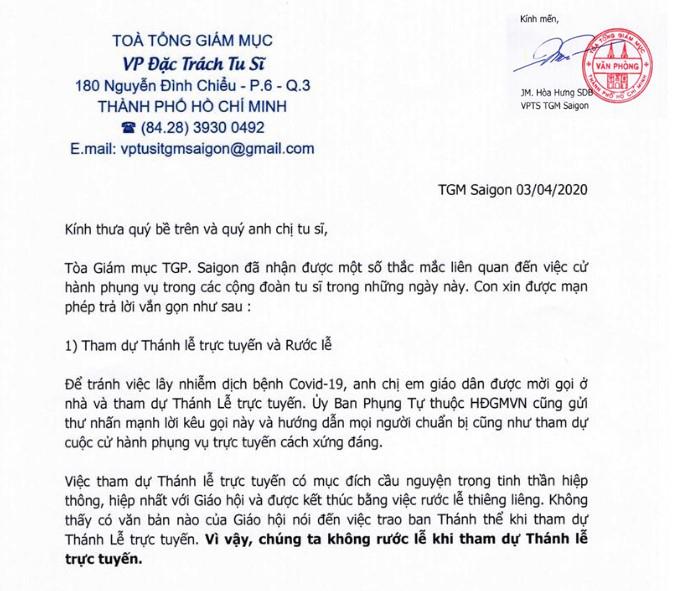 Thông báo của văn phòng đặc trách tu sĩ TGP Sài Gòn: Rước Lễ và Thánh Lễ online