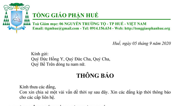 Thông báo của Hội đồng Giám mục Việt Nam ngày 5.9.2020