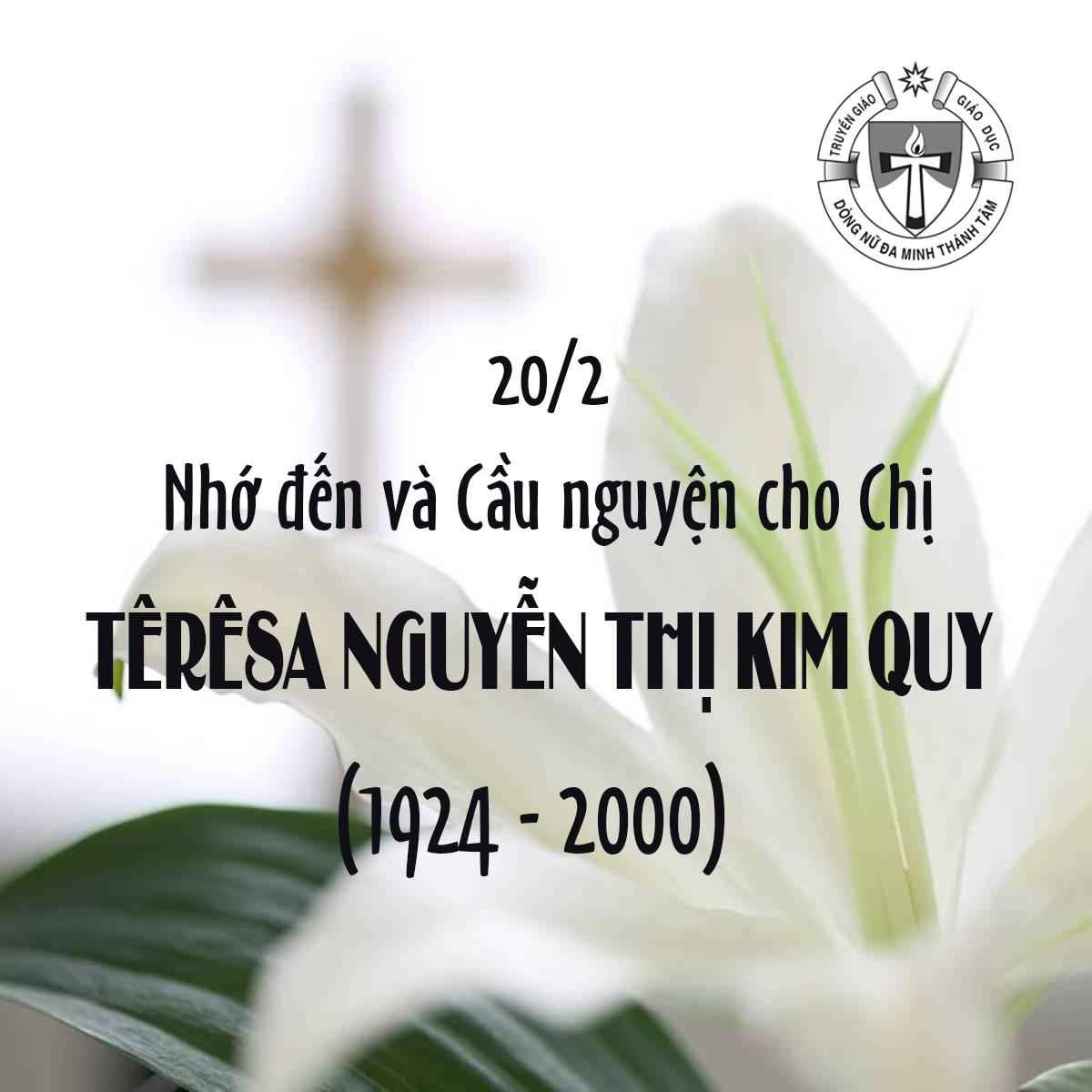 Giố CHỊ TÊRÊSA NGUYỄN THỊ KIM QUY (1924-2000)