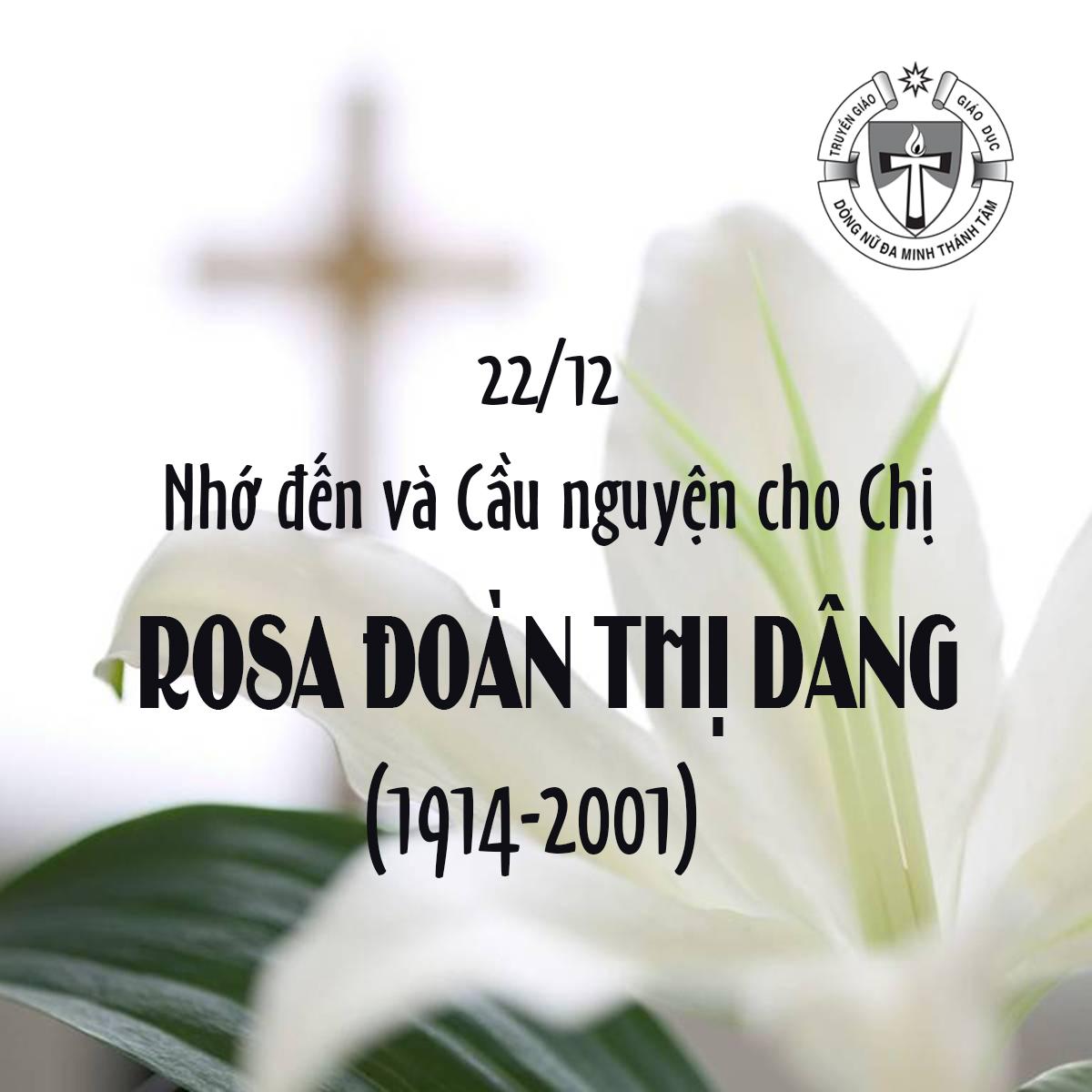 22/12: Giỗ CHỊ ROSA ĐOÀN THỊ DÂNG (1914-2001)