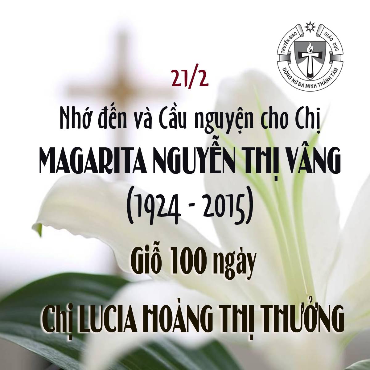 Giỗ Chị MARGARITA NGUYỄN THỊ VÂNG (1924-2015) & Giỗ 100 ngày Chị LUCIA HOÀNG THỊ THƯỞNG