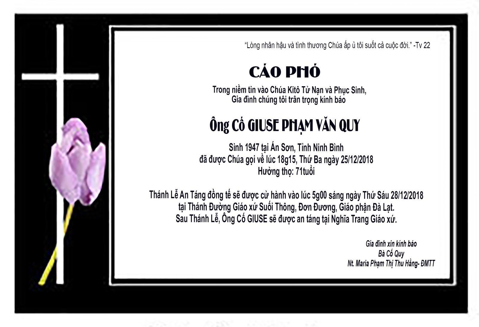 Ai Tín: Ông Cố GIUSE PHẠM VĂN QUY- Thân Phụ Nữ tu Maria Phạm Thị Thu Hằng qua đời.