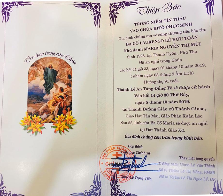 AI TÍN : Bà Cố MARIA NGUYỄN THỊ MÙI, Thân Mẫu của Chị Têrêsa Lê Thị Ngọc Lễ, qua đời