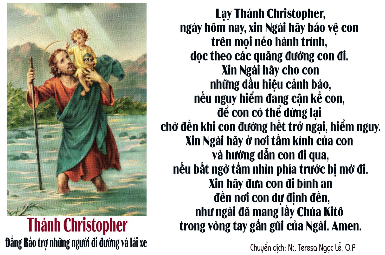 Xin ơn bảo vệ, chở che Gia đình bạn trong khi đi đường bằng lời cầu nguyện này với Thánh Christopher.