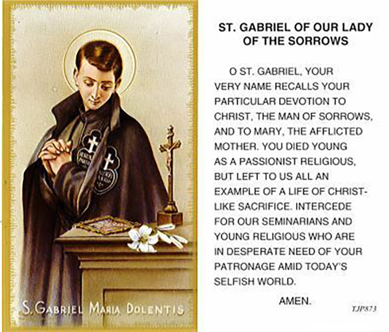 ĐGH Phanxicô: THÁNH GABRIEL, VẪN LÀ MỘT MẪU GƯƠNG CHO NGƯỜI TRẺ, DÙ LÀ 100 NĂM SAU