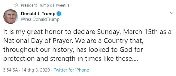 Một lãnh đạo, một tổng thống kêu gọi cả nước dành ngày Chúa Nhật 15/3 để cầu nguyện