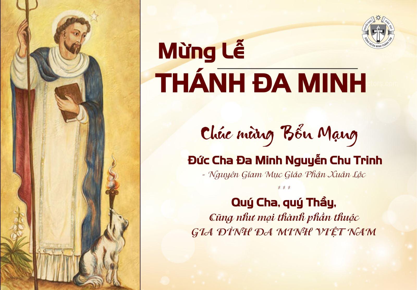 MỪNG LỄ THÁNH ĐA MINH- Hội Dòng Mừng Bổn Mạng Đức Cha Đa Minh và mọi người