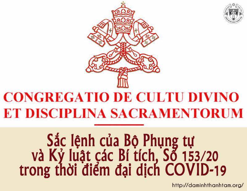 Bộ Phụng tự và Kỷ luật các Bí tích, Số 153/20:  Sắc lệnh trong thời điểm đại dịch COVID-19